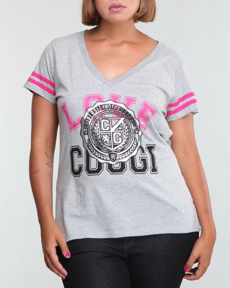 COOGI Women Grey V-Neck Love Coogi Tee W/Flocking (Plus Size)