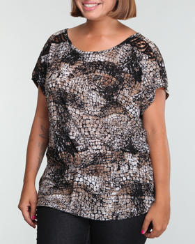 Fashion Lab - Printed top w/lace back (plus)