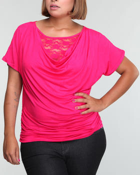 Basic Essentials - Basic tops w/lace front detail (plus)