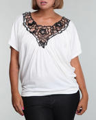 Fashion Lab - V-neck top w/ floral lace detail (plus)