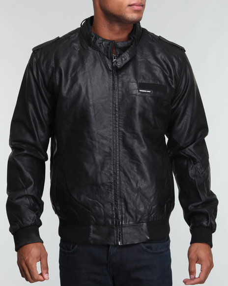 Members Only - Men Black Faux Real Racer Jacket