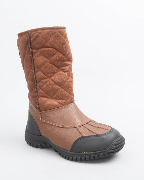 Apple Bottoms Women Tan Faux Suede Quilted Fleece Lined Boot