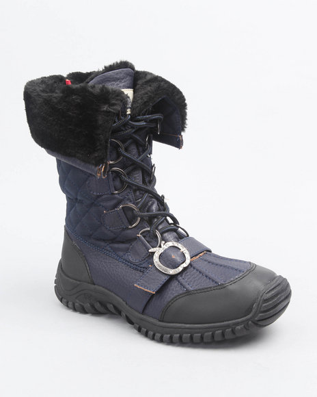 Apple Bottoms Women Navy Nadia Quilted Lace Up Boot