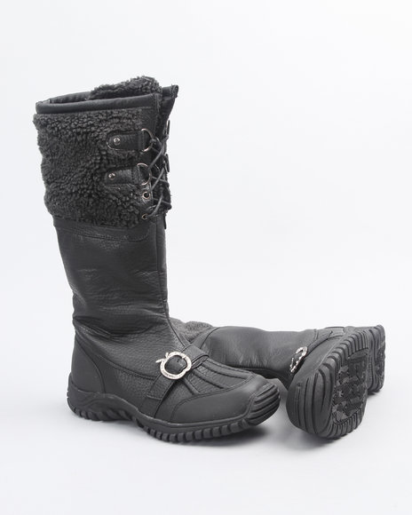 Apple Bottoms Women Black Nabi Fleece Trim Boot W/ Faux Interior Fur Lining