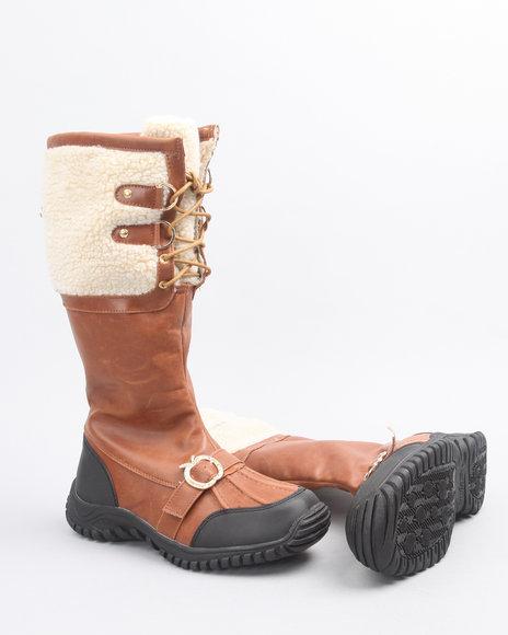 Apple Bottoms Women Tan Nabi Fleece Trim Boot W/ Faux Interior Fur Lining