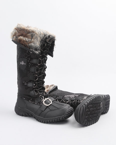 Apple Bottoms Women Black Nataly Sequin Lace Up Boot W/ Faux Interior Fur Lining