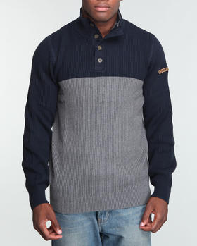 Nautica - Color Block Button Mock Sweater