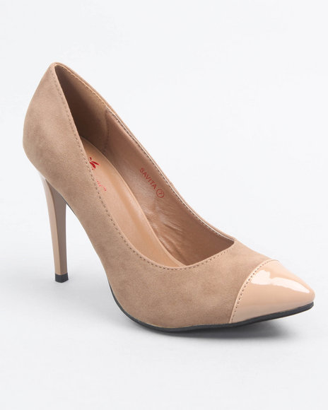 Apple Bottoms Women Beige Patent Peep Toe Faux Suede Pump