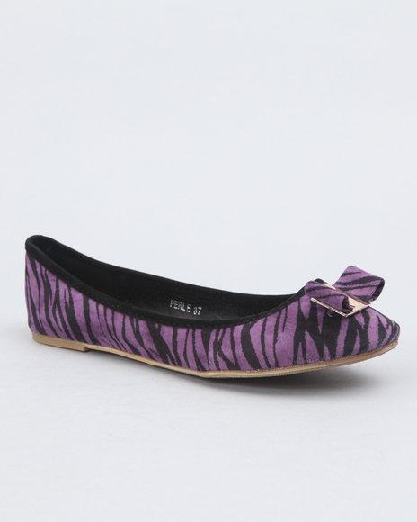 Apple Bottoms Women Purple Zebra Print Bow Flat