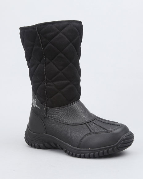 Apple Bottoms Women Black Faux Suede Quilted Fleece Lined Boot
