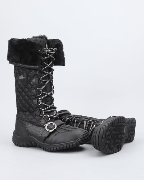 Apple Bottoms Women Black Natalia High Quilted Fleece Lined Boot W/ Faux Interior Fur Lining