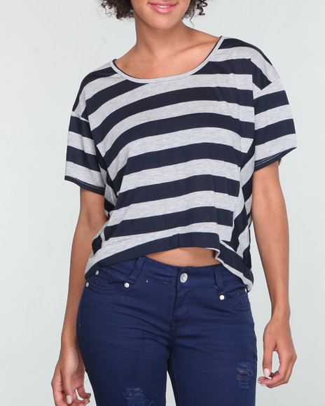 Fashion Lab Women Grey,Navy High Low Dolman Top W/Stripes