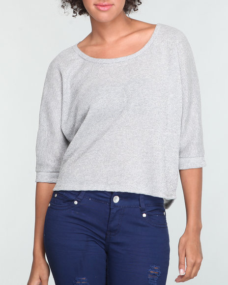 Basic Essentials - Women Silver Lurex Top