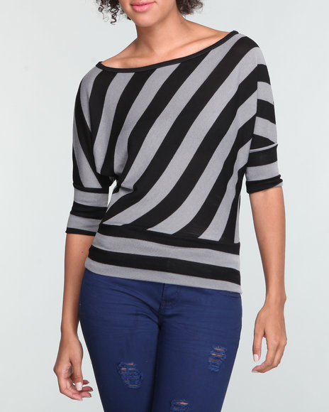 Basic Essentials Women Black Stripe Dolman Top