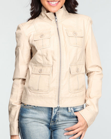 4 pocket field faux leather jacket