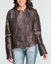 Women - Fashion Racer Faux Leather Jacket