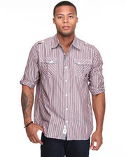 Shirts - Slick Roll Up Long Sleeve Plaid Woven Shirt