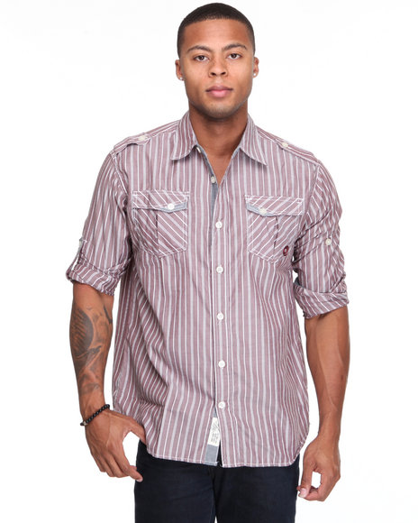 - Slick Roll Up Long Sleeve Plaid Woven Shirt