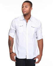Button-down - Slick Roll Up Long Sleeve Plaid Woven Shirt