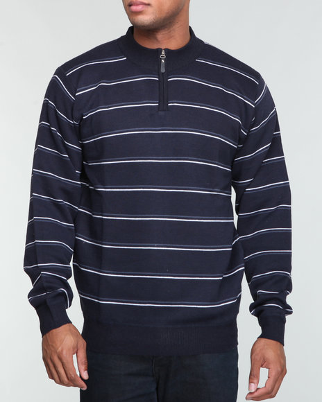 thin stripe quarter zip sweater
