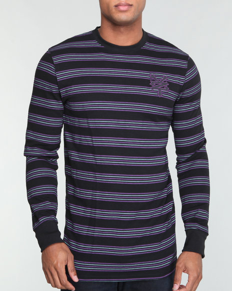 Zoo York Men Black Z Y Chest - Logo Striped L/S Thermal