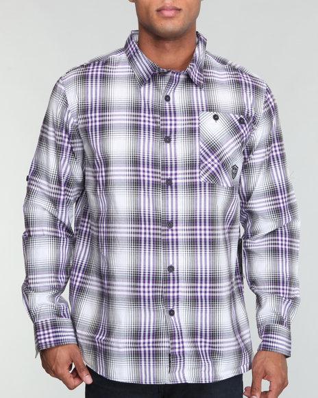 Enyce Men Purple Word Woven Shirt