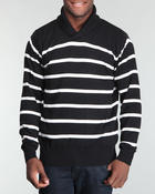 Cold Weather- MEN - Multi striped Ralphie shawl neck pullover sweatshirt