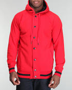 Men - Fleece button hooded jacket