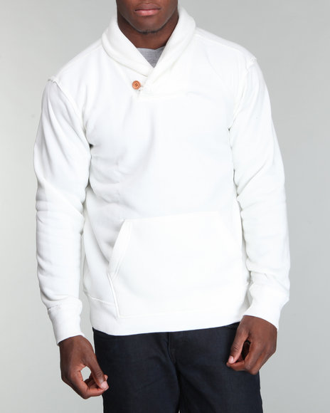 Buyers Picks Men Off White Fleece Shawl Neck Pullover Sweatshirt