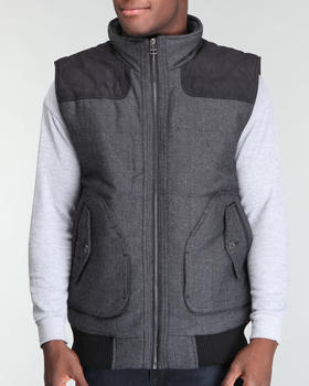 Basic Essentials - Padded Herringbone wool Vest