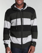 Men - Wide striped vintage washed zip hoodie
