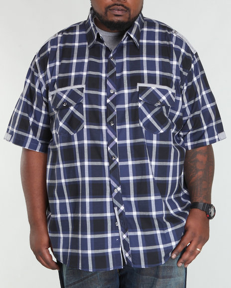 Basic Essentials Men Navy Plaid Woven Short Sleeve Woven Shirt  (B&T)
