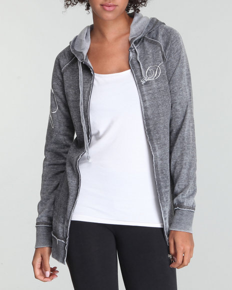 Fashion Lab Women Charcoal Burnout Active Hoodie