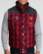 Cold Weather- MEN - Plaid vest w/ blk yoke