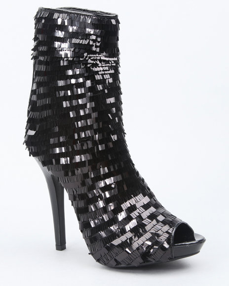 Image of Dereon Women Black Dynamite High Heel Sequin Bootie