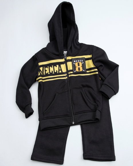 Mecca Boys Black 2 Piece Fleece Set (2T-4T)