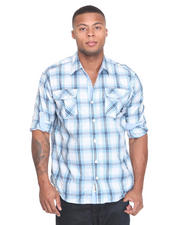 Long-Sleeve - Fly Fisher Roll Up Long Sleeve Plaid Woven Shirt