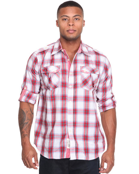 - Fly Fisher Roll Up Long Sleeve Plaid Woven Shirt