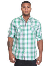 Button-down - Fly Fisher Roll Up Long Sleeve Plaid Woven Shirt