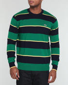 Men - L!Ve Stripe Wool Jersey Sweater w/ Elbow Contrast