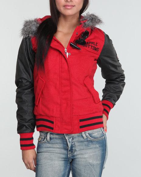 Apple Bottoms Women Red Wool Hooded Varsity Jacket
