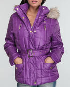 Women - Puffer jacket w/belt w/ Faux fur lined hood