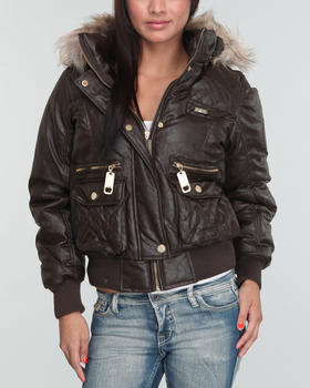 Apple Bottoms - Faux Leather Fur Trim Hooded Puffer Jacket