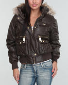 Women - Faux Leather Fur Trim Hooded Puffer Jacket