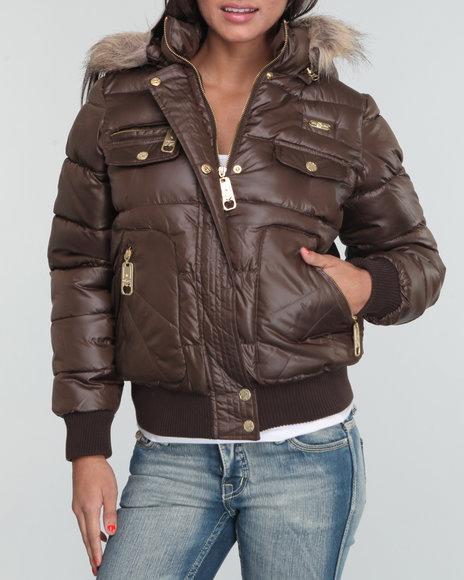 Apple Bottoms Women Brown Core Puffer Hooded Jacket