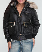 Women - Faux Leather Fur Trim Puffer Jacket