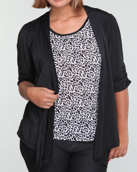 cheetah top w/black jacket 2fer (plus)