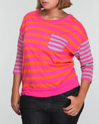 Women - 3/4 SLEEVE STRIPE TOP (Plus)