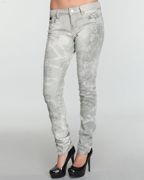 Rocawear Women Grey Lace Me Up Printed Leg Skinny Jean