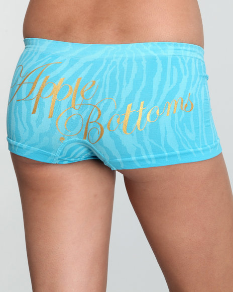 Apple Bottoms Women Blue Zebra Textured Seamless Boyshort